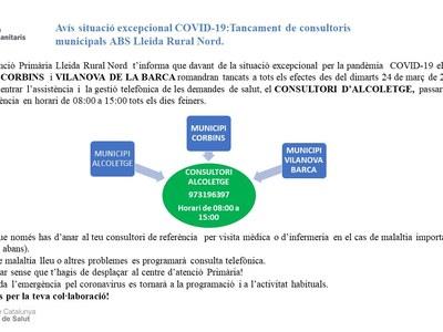Avís situació excepcional COVID-19:Tancament de consultoris municipals ABS Lleida Rural Nord.