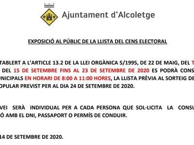 EXPOSICIÓ AL PÚBLIC DE LA LLISTA DEL CENS ELECTORAL