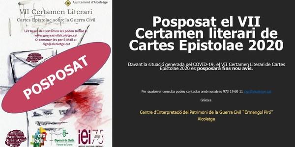 POSPOSAT EL VII CERTAMEN LITERARI DE CARTES EPISTOLAE 2020