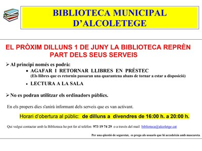 REOBERTURA DE LA BIBLIOTECA